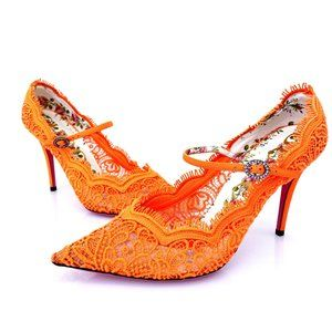 Gucci Neon Orange W Lace Pointed Toe Heel W/Strap